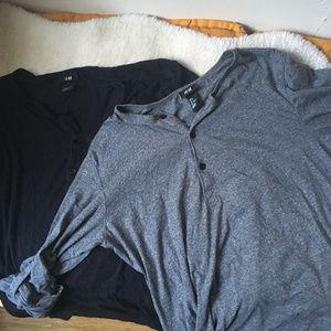 Two H&M Lightweight Henley Shirts